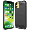 CARBOBRUSH-IP11 - Coque iPhone 11 antichoc coloris noir aspect carbone